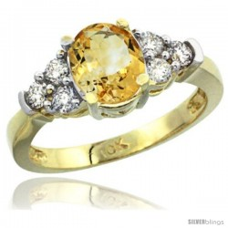 10k Yellow Gold Ladies Natural Citrine Ring oval 9x7 Stone