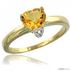 10K Yellow Gold Natural Citrine Heart-shape 7x7 Stone Diamond Accent