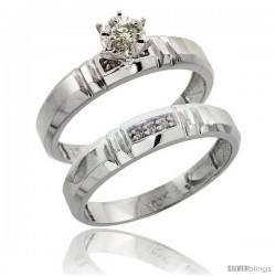 10k White Gold Ladies' 2-Piece Diamond Engagement Wedding Ring Set, 5/32 in wide -Style Ljw123e2