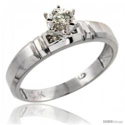 10k White Gold Diamond Engagement Ring, 5/32 in wide -Style Ljw123er