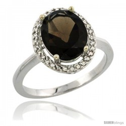 Sterling Silver Diamond Natural Smoky TopazRing 2.4 ct Oval Stone 10x8 mm, 1/2 in wide
