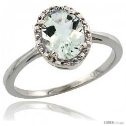 10k White Gold Diamond Halo Green Amethyst Ring 1.2 ct Oval Stone 8x6 mm, 1/2 in wide