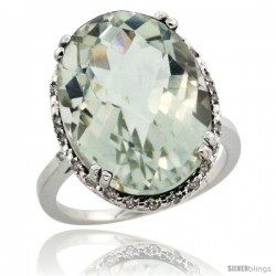 10k White Gold Diamond Halo Large Green Amethyst Ring 10.3 ct Oval Stone 18x13 mm, 3/4 in wide