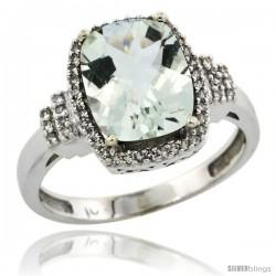 10k White Gold Diamond Halo Green Amethyst Ring 2.4 ct Cushion Cut 9x7 mm, 1/2 in wide