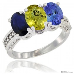 14K White Gold Natural Blue Sapphire, Lemon Quartz & Tanzanite Ring 3-Stone 7x5 mm Oval Diamond Accent