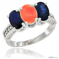 14K White Gold Natural Coral & Blue Sapphire Sides Ring 3-Stone 7x5 mm Oval Diamond Accent
