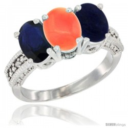 14K White Gold Natural Blue Sapphire, Coral & Lapis Ring 3-Stone 7x5 mm Oval Diamond Accent