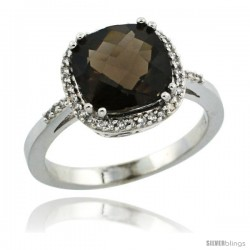 Sterling Silver Diamond Natural Smoky Topaz Ring 3.05 ct Cushion Cut 9x9 mm, 1/2 in wide