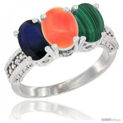 14K White Gold Natural Blue Sapphire, Coral & Malachite Ring 3-Stone 7x5 mm Oval Diamond Accent