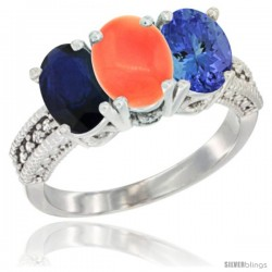 14K White Gold Natural Blue Sapphire, Coral & Tanzanite Ring 3-Stone 7x5 mm Oval Diamond Accent