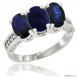 14K White Gold Natural Lapis & Blue Sapphire Sides Ring 3-Stone 7x5 mm Oval Diamond Accent