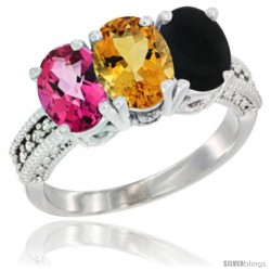 14K White Gold Natural Pink Topaz, Citrine & Black Onyx Ring 3-Stone 7x5 mm Oval Diamond Accent