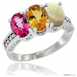 14K White Gold Natural Pink Topaz, Citrine & Opal Ring 3-Stone 7x5 mm Oval Diamond Accent