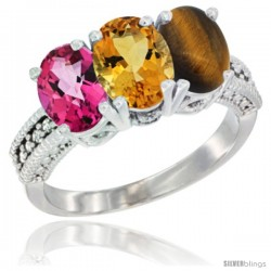 14K White Gold Natural Pink Topaz, Citrine & Tiger Eye Ring 3-Stone 7x5 mm Oval Diamond Accent