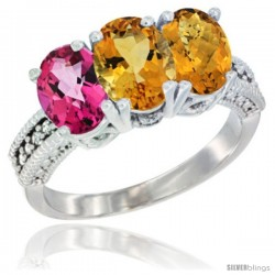14K White Gold Natural Pink Topaz, Citrine & Whisky Quartz Ring 3-Stone 7x5 mm Oval Diamond Accent