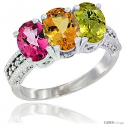 14K White Gold Natural Pink Topaz, Citrine & Lemon Quartz Ring 3-Stone 7x5 mm Oval Diamond Accent