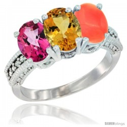 14K White Gold Natural Pink Topaz, Citrine & Coral Ring 3-Stone 7x5 mm Oval Diamond Accent