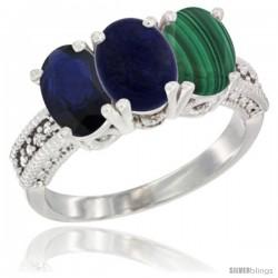 14K White Gold Natural Blue Sapphire, Lapis & Malachite Ring 3-Stone 7x5 mm Oval Diamond Accent