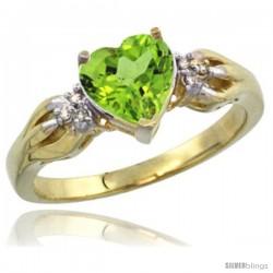 14k Yellow Gold Ladies Natural Peridot ring Heart shape 7x7 Stone Diamond Accent