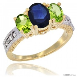14k Yellow Gold Ladies Oval Natural Blue Sapphire 3-Stone Ring with Peridot Sides Diamond Accent