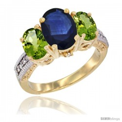 14K Yellow Gold Ladies 3-Stone Oval Natural Blue Sapphire Ring with Peridot Sides Diamond Accent