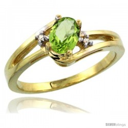 14k Yellow Gold Ladies Natural Peridot Ring oval 6x4 Stone Diamond Accent -Style Cy411165