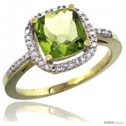 14k Yellow Gold Ladies Natural Peridot Ring Cushion-cut 3.8 ct. 8x8 Stone Diamond Accent