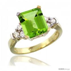 14k Yellow Gold Ladies Natural Peridot Ring Emerald-shape 9x7 Stone Diamond Accent
