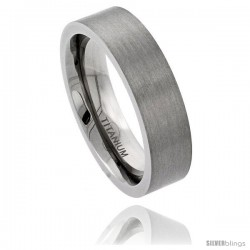 Titanium 6mm Flat Wedding Band Ring Matte Finish Comfort-fit