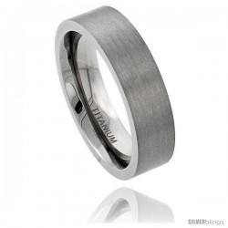 Titanium 6mm Flat Wedding Band Ring Matte Finish Comfort-fit