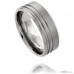 Titanium 9mm Flat Wedding Band Ring 2 Stripes Beveled Edges Matte Finish Comfort-fit