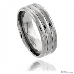 Titanium 9mm Wedding Band Ring Polished finish 3 Dome Pattern Comfort-fit