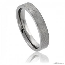Titanium 5mm Wedding Band Ring Rain Pattern Finish Comfort-fit
