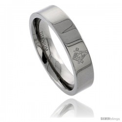 Titanium 6 mm Flat Wedding Band Ring Masonic Compass Comfort Fit