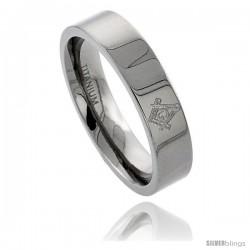 Titanium 6 mm Flat Wedding Band Ring Masonic Compass Comfort Fit