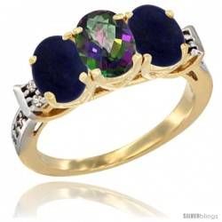 10K Yellow Gold Natural Mystic Topaz & Lapis Sides Ring 3-Stone Oval 7x5 mm Diamond Accent