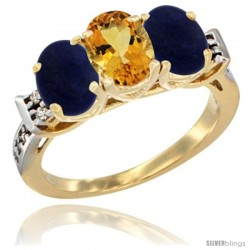 10K Yellow Gold Natural Citrine & Lapis Sides Ring 3-Stone Oval 7x5 mm Diamond Accent