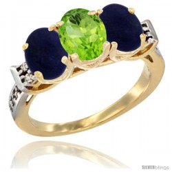 10K Yellow Gold Natural Peridot & Lapis Sides Ring 3-Stone Oval 7x5 mm Diamond Accent