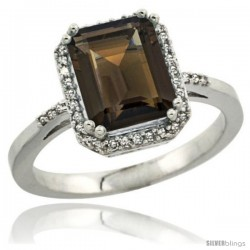 Sterling Silver Diamond Natural Smoky Topaz Ring 2.53 ct Emerald Shape 9x7 mm, 1/2 in wide
