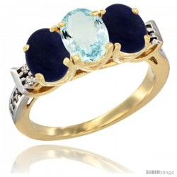 10K Yellow Gold Natural Aquamarine & Lapis Sides Ring 3-Stone Oval 7x5 mm Diamond Accent