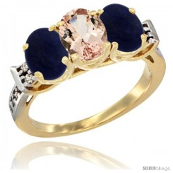 10K Yellow Gold Natural Morganite & Lapis Sides Ring 3-Stone Oval 7x5 mm Diamond Accent
