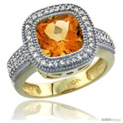 10K Yellow Gold Natural Citrine Ring Cushion-cut 9x9 Stone Diamond Accent