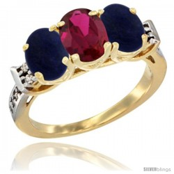 10K Yellow Gold Natural Ruby & Lapis Sides Ring 3-Stone Oval 7x5 mm Diamond Accent