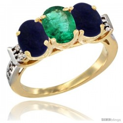 10K Yellow Gold Natural Emerald & Lapis Sides Ring 3-Stone Oval 7x5 mm Diamond Accent
