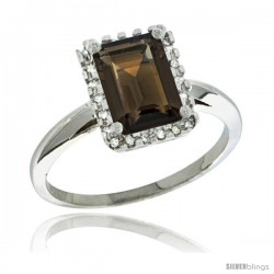 Sterling Silver Diamond Natural Smoky Topaz Ring 1.6 ct Emerald Shape 8x6 mm, 1/2 in wide