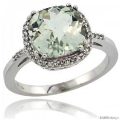 10k White Gold Diamond Green-Amethyst Ring 3.05 ct Cushion Cut 9x9 mm, 1/2 in wide