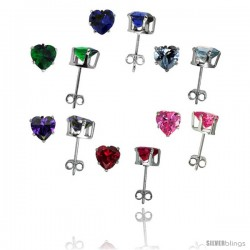 6 pair set Sterling Silver Cubic Zirconia Stud Earrings 6 mm Heart Shape Emerald, Blue Sapphire, Blue Topaz, Amethyst, Ruby