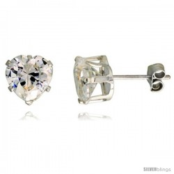 Sterling Silver Cubic Zirconia Stud Earrings 2 1/4 cttw Heart Shape