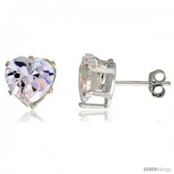 Sterling Silver Cubic Zirconia Stud Earrings 3 1/2 cttw Heart Shape