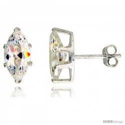 Sterling Silver Cubic Zirconia Stud Earrings 2 cttw Marquise Shape